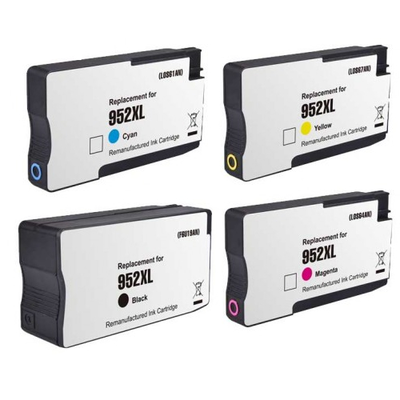 Remanufactured HP 952XL Black / 952XL Cyan / 952XL Magenta / 952XL Yellow ( F6U19AN ) Multicolor Discount Ink Cartridge