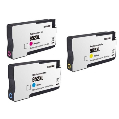 Remanufactured HP 952XL Cyan / 952XL Magenta / 952XL Yellow ( L0S64AN ) Multicolor Discount Ink Cartridge